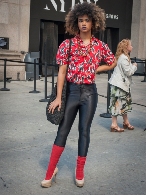Fashion week street style red shirt and socks