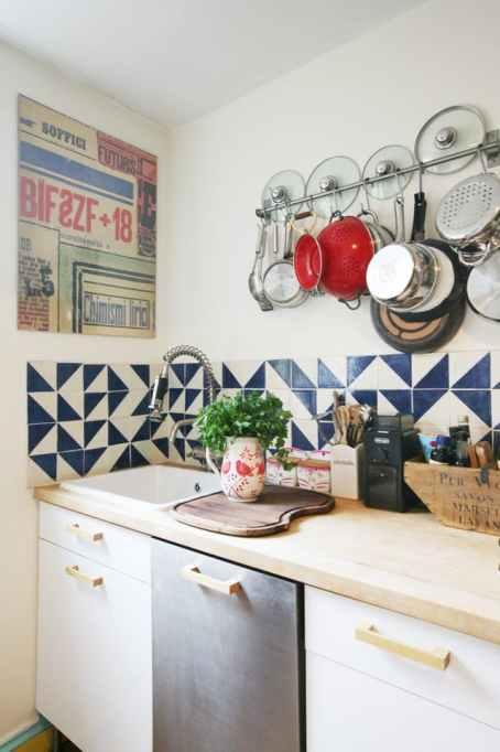 navy blue backsplash kitchen