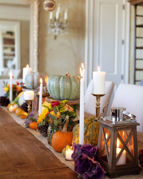 18 Homemade Thanksgiving Table Ideas That Even the DIY-Challenged Can Manage: Long centerpiece for Thanksgiving table