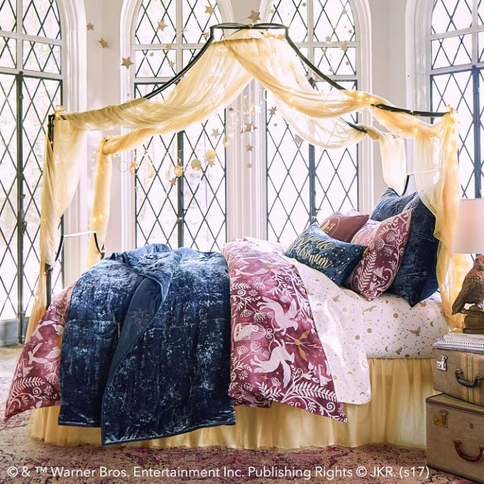 PB Teen Harry Potter Collection: This gold glitter canopy goes over your bed
