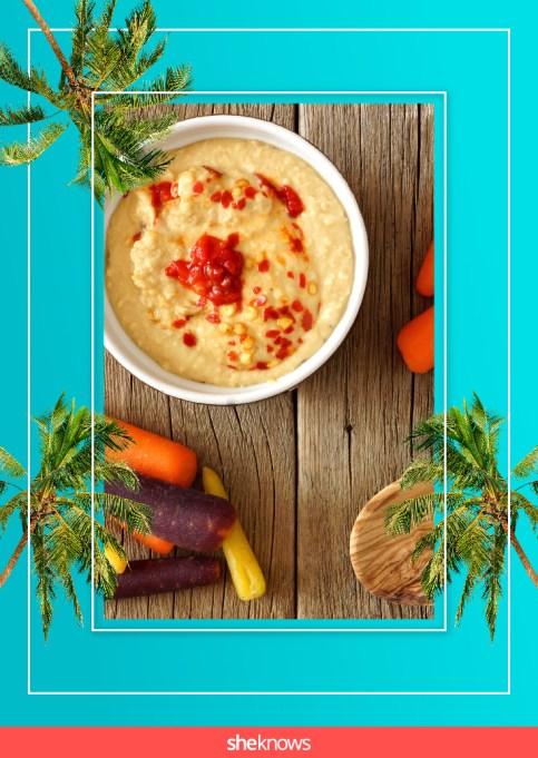Baby carrots and lemon hummus