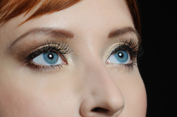 Woman with fake lashes