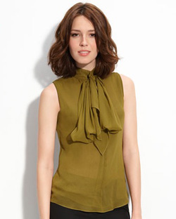 Seen here: Vince Camuto tie-neck blouse