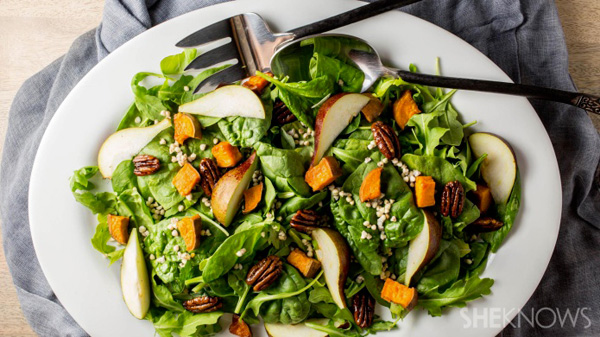 Fall salad with sage and roasted garlic vinaigrette