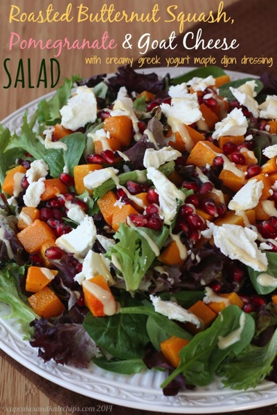 Roasted butternut squash, pomegranate, and goat cheese salad