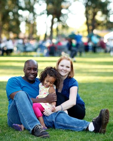 Family at music festival
