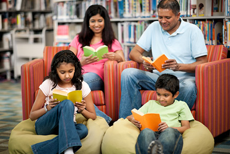 family at the library