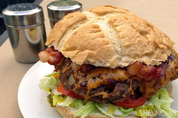 Giant barbecue bacon burger