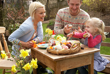 family celebrating Easter outdoors