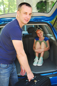 Family packing car