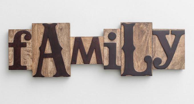 Family letterpress sign