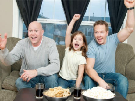 family watching games