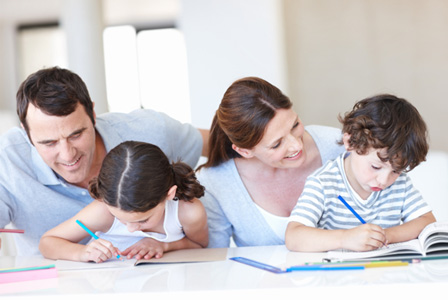 Family writing story together