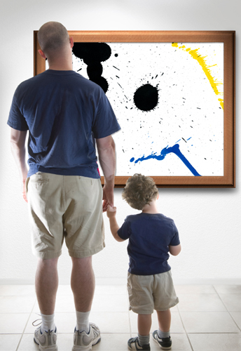 Father and Son looking at Art
