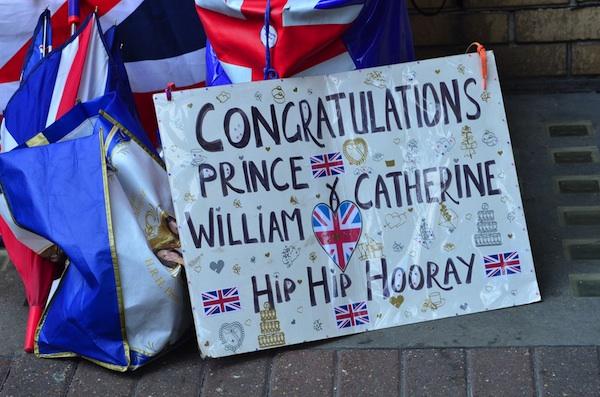 A fan's royal baby sign left outside London hospital.