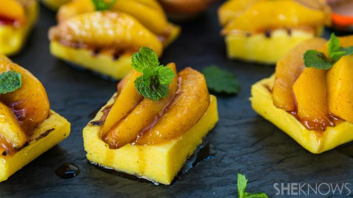 Grilled polenta with caramelized peaches is