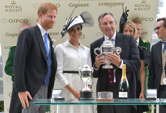 Prince Harry and Meghan Markle present Royal Ascot 2018 winners cup to breeder John Gunther