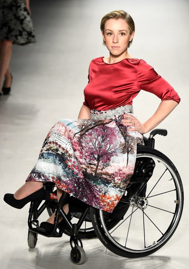 Modeling in a wheelchair at fashion week