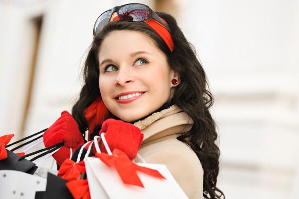 Woman going Christmas shopping