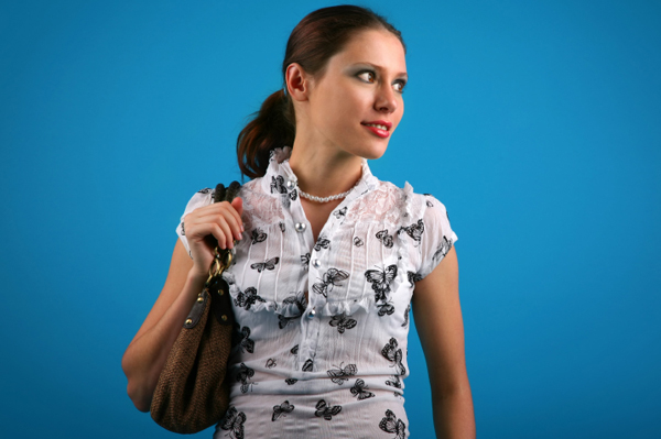 Woman with simple ponytail