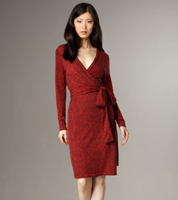 Seen here: Diane von Furstenberg red mosaic wrap dress ($345, Neiman Marcus)