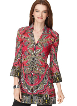Seen here: Alfani three quarter sleeve printed tunic ($69, Macy's)