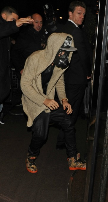 Justin Bieber in a gas mask