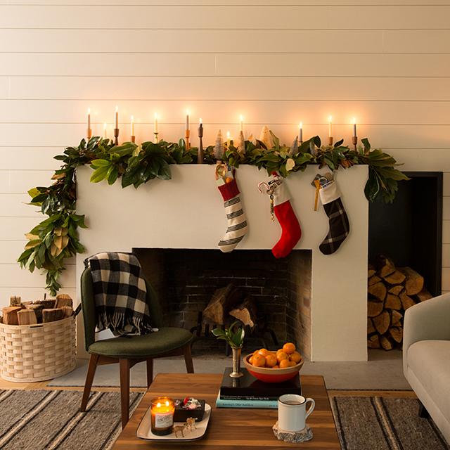 Scandanavian holiday decor for fireplace mantel