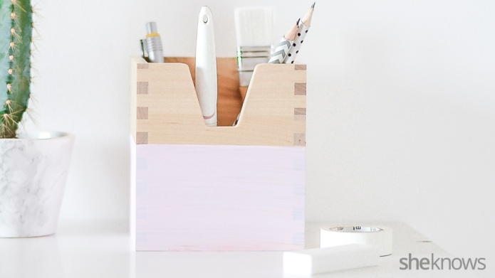 Easy painted pencil holder will add