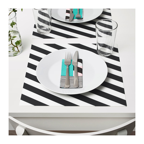 Ikea black & white striped Pipig placemat