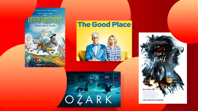 Collage with 'Disenchantment', 'The Good Place',