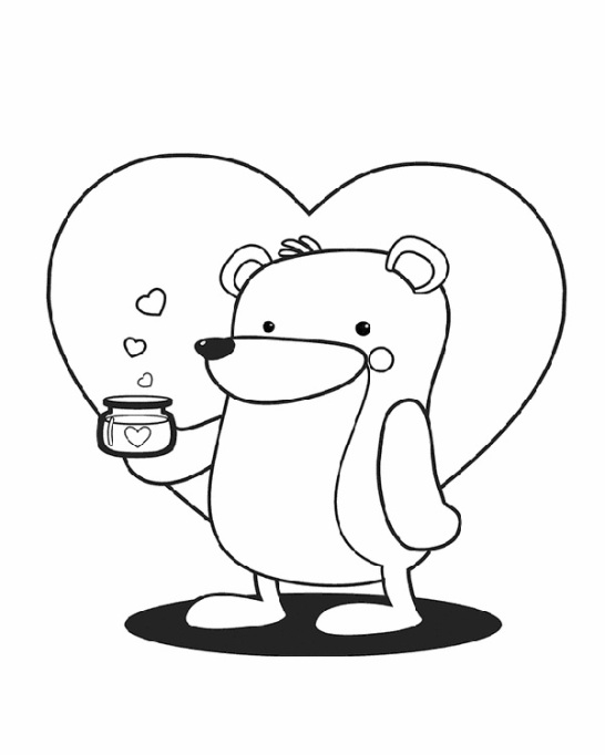 Valentine's Day Coloring Pages: Bear with a heart
