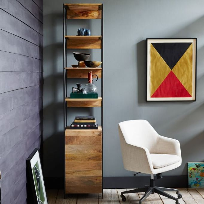 """West Elm industrial modular 17"""" open and closed storage"""
