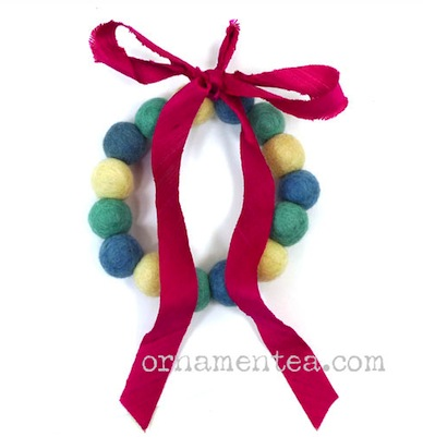 Felt ball holiday wreath