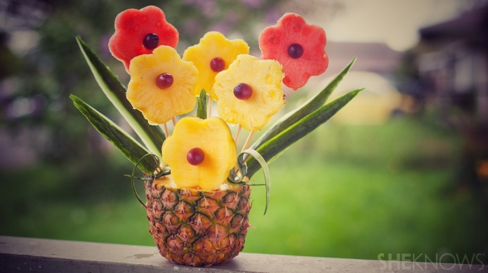 Tropical fruit bouquet in a pineapple