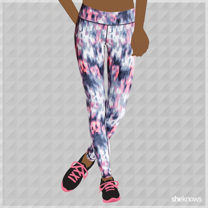 Pink and white athleisure leggings