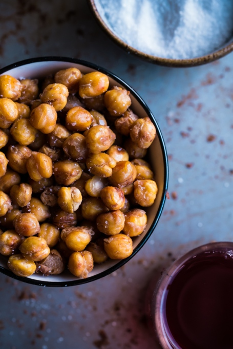 Healthy road trip snacks: salt and vinegar roasted chickpeas are a healthy and delicious alternative to a bag of potato chips.