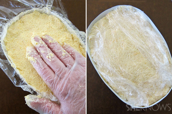 Fill mask with cheese mixture