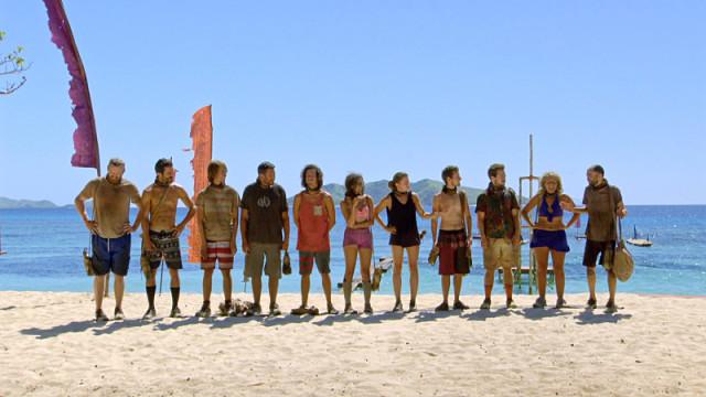 Castaways lined up for challenge on Survivor: Millennials Vs. Gen-X