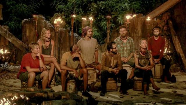 Final 8 castaways at Tribal Council on Survivor: Heroes Vs. Healers Vs. Hustlers