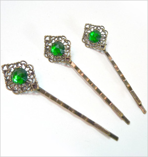 Emerald jewel hair pin