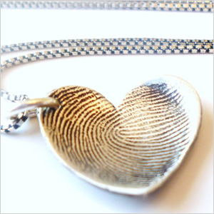 Silver finger print nacklace and pendant