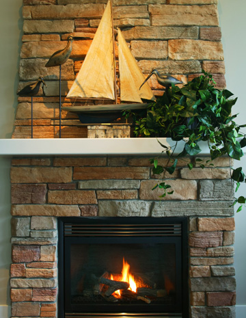 Fireplace with nautical theme