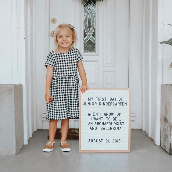 First-day photo shoot with a letterboard