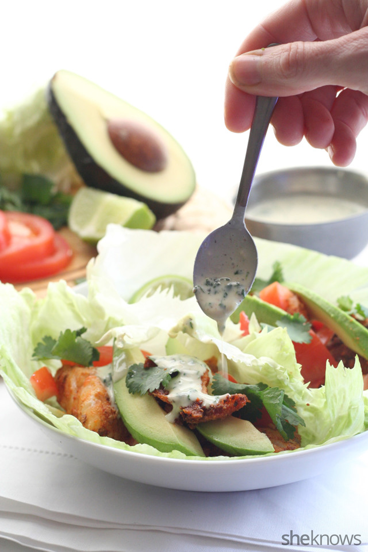 Low-carb low-calorie fish taco lettuce wraps recipe