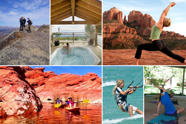 Fitness vacation destinations collage