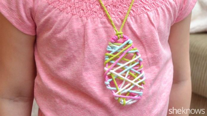 DIY Easter egg string art necklace