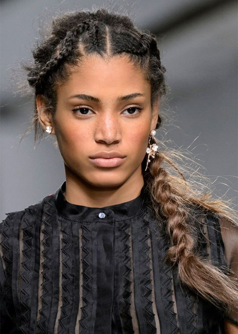 Front Cornrows into a Side Braid