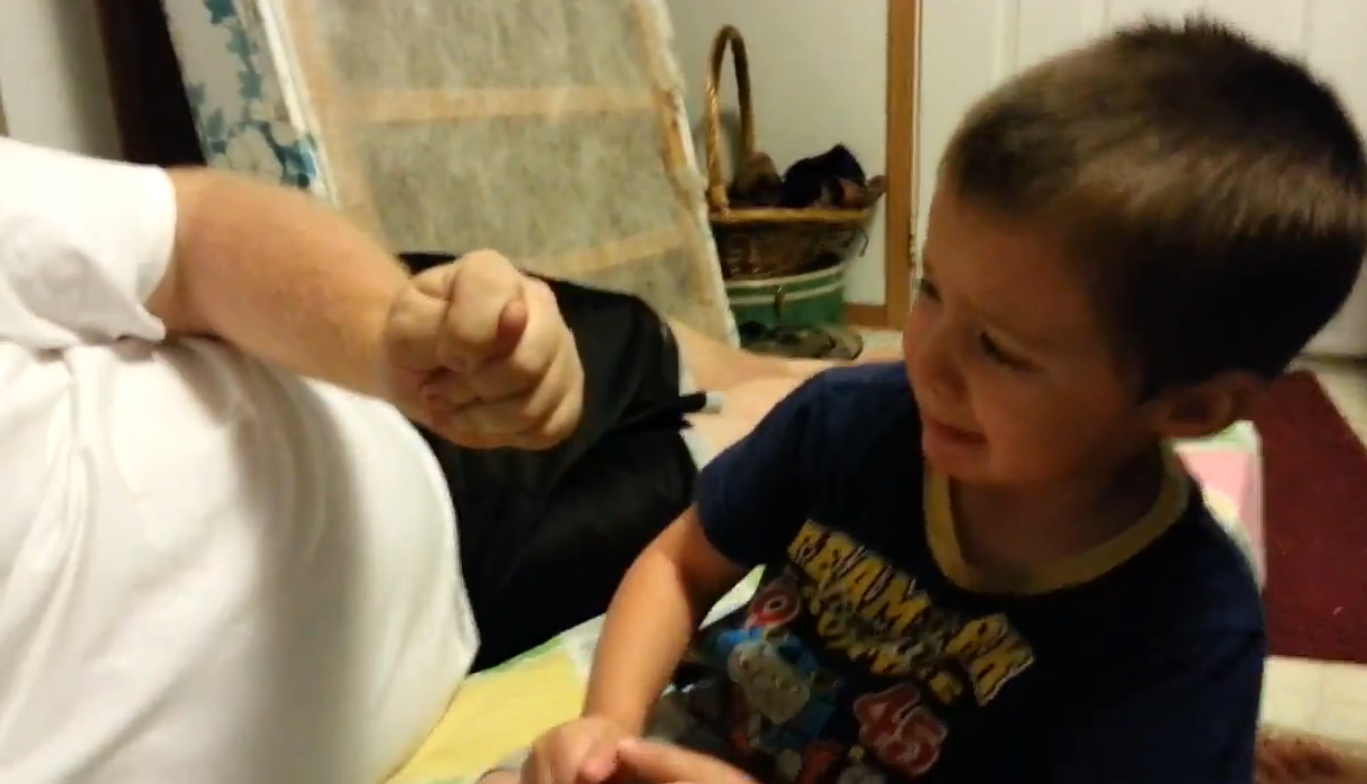 Little boy is so upset when daddy plays a trick on him (VIDEO)