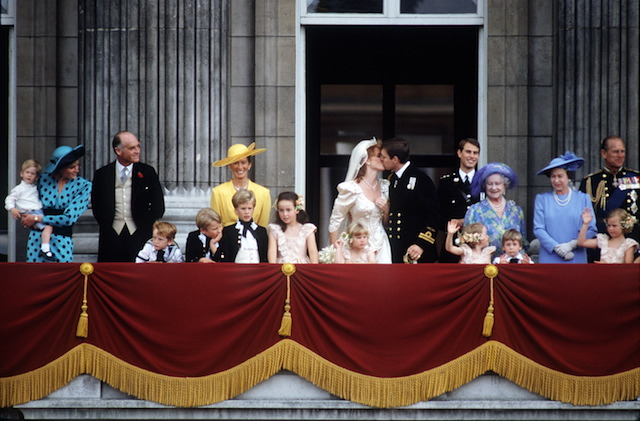 Prince Andrew & Sarah Ferguson kiss on their wedding day